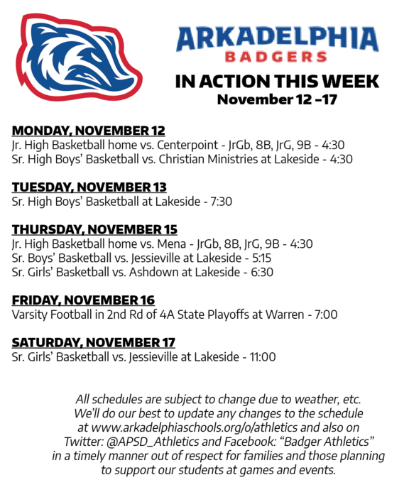 This Week in APSD Athletics Nov. 12-17