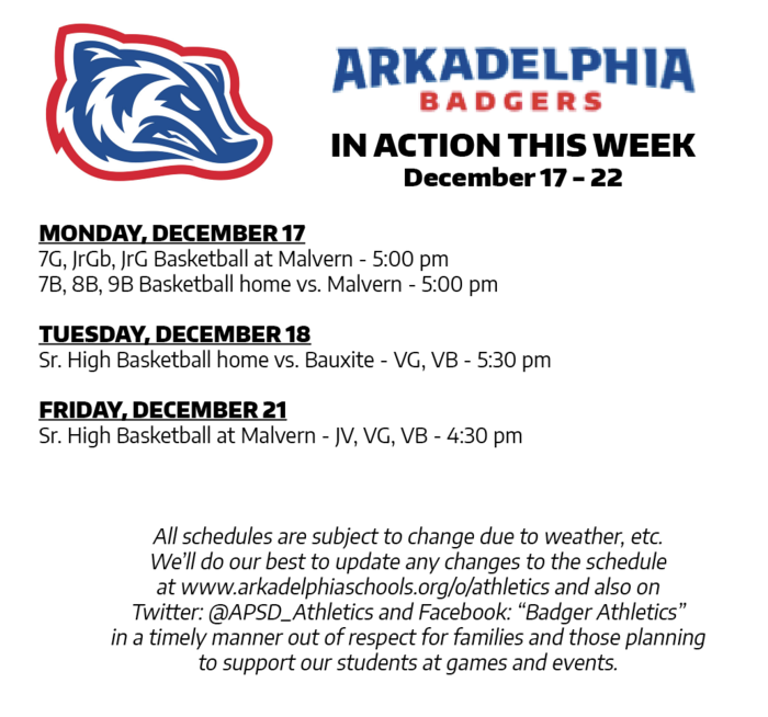 This Week in APSD Athletics: Dec. 17-22