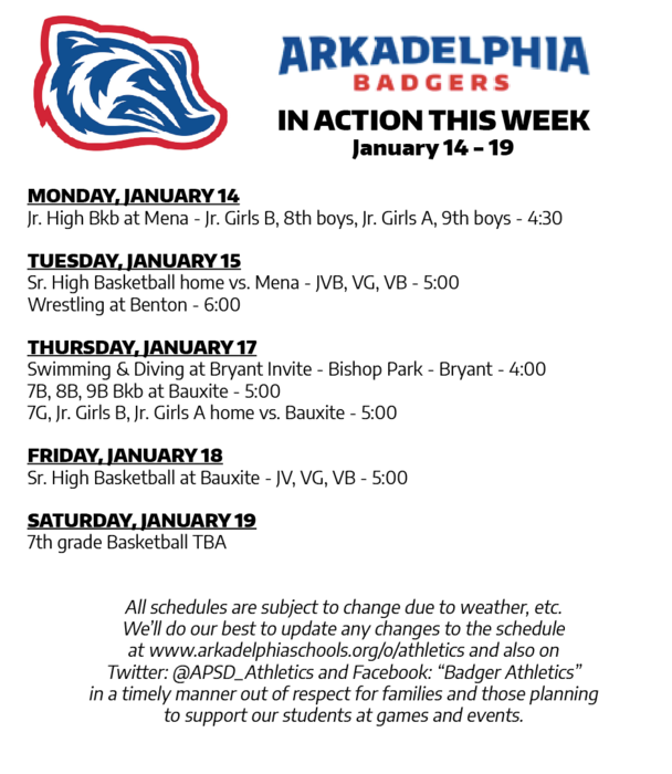 This Week in APSD Athletics: Jan. 14-19