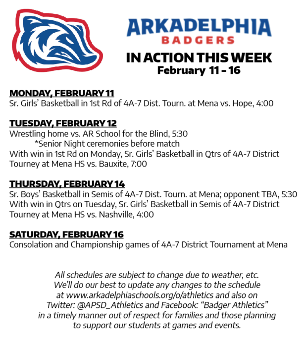 This Week in APSD Athletics: Feb. 11-16