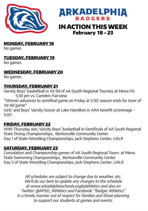 This Week in APSD Athletics: Feb. 18-23
