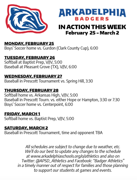 This Week in APSD Athletics: FEb. 28 - March 2