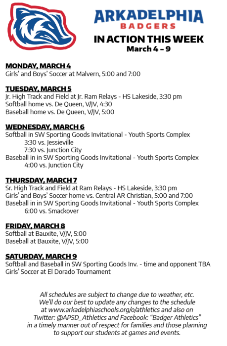 This week in APSD Athletics: March 4-9