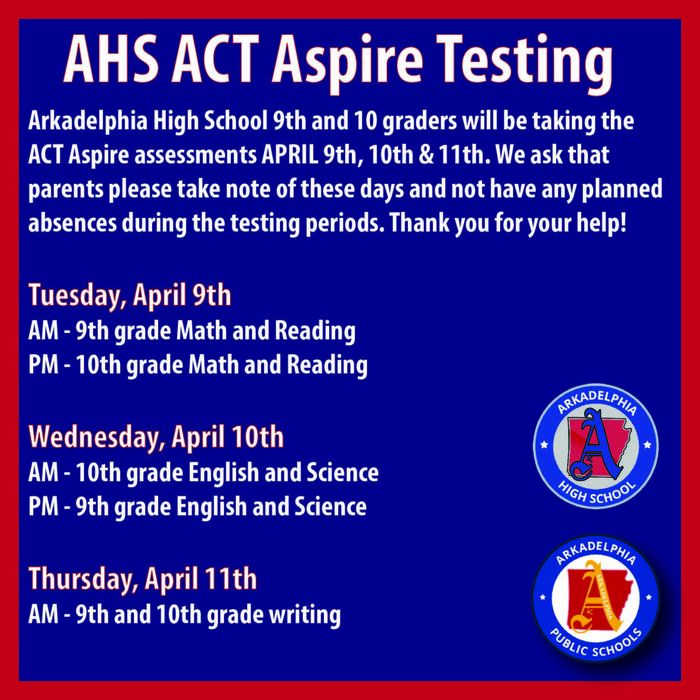 AHS ACT Aspire Testing Dates