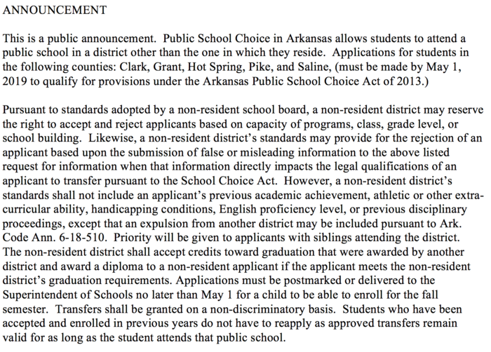 School Choice Legal Announcement