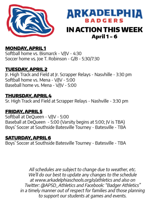 This Week in APSD Athletics: April 1-6