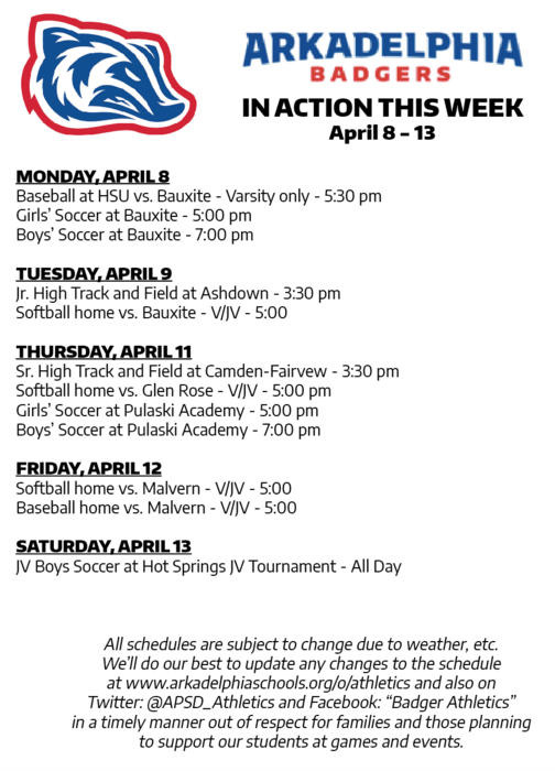 This Week in APSD Athletics: April 8-13