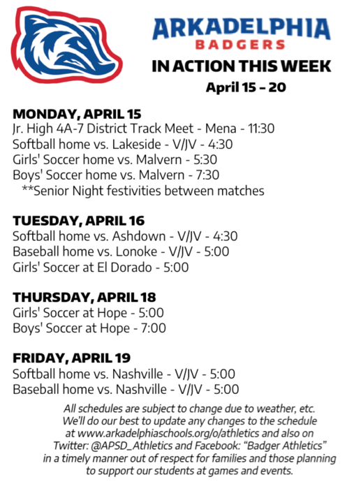 This Week in APSD Athletics: April 15-20