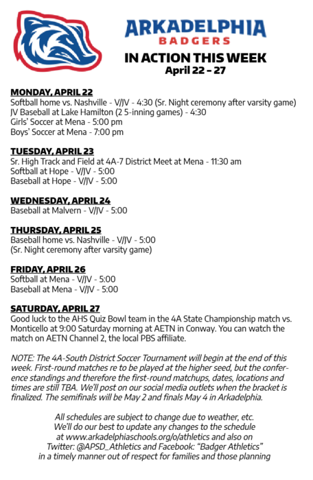 UPDATED This Week in APSD Athletics: April 22-27