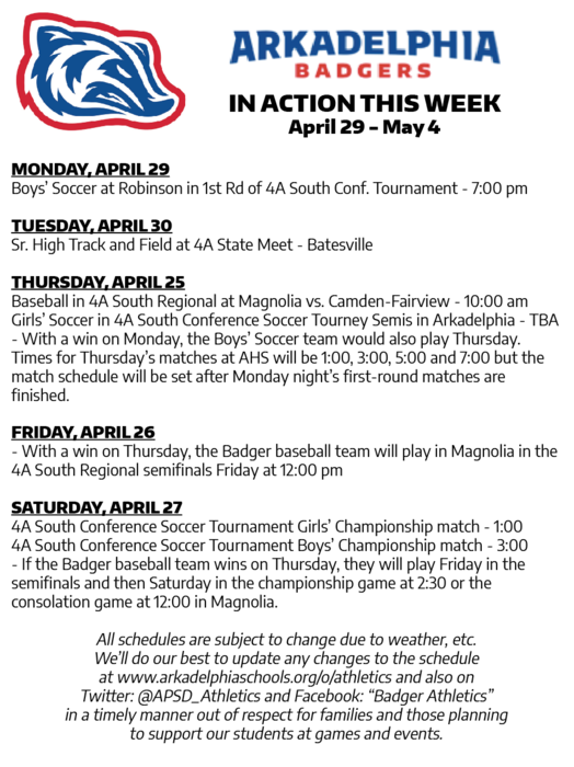 This Week in APSD Athletics: April 29 - May 4