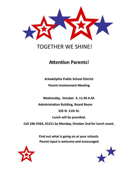 Parent Involvement Meeting Flyer for October 4 at 11:30 a.m.