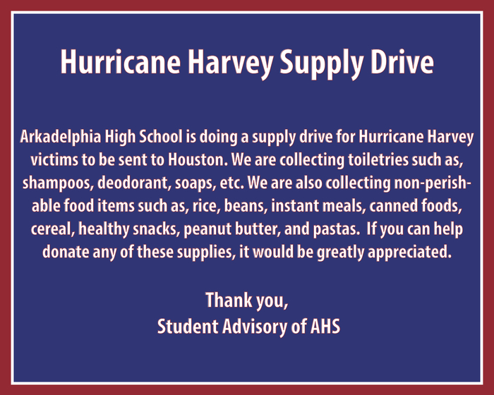 AHS Hurricane Harvey Supply Drive