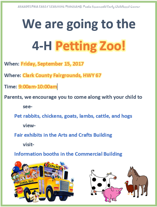 4-H Petting Zoo Flyer - September 15, 2017 9:00-10:00 a.m.