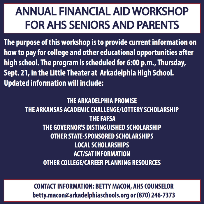 Financial Aid Workshop Flyer - September 21 at 6:00