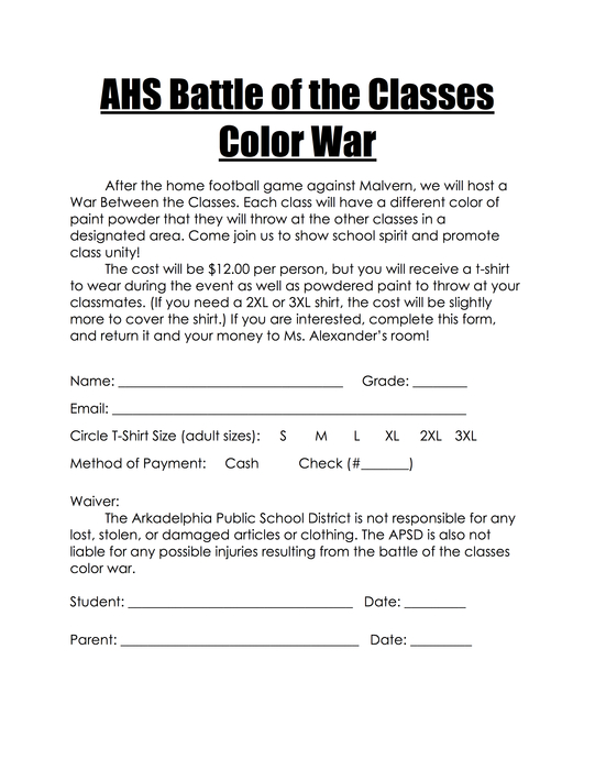 Battle of the Classes Color Packet War - Flyer