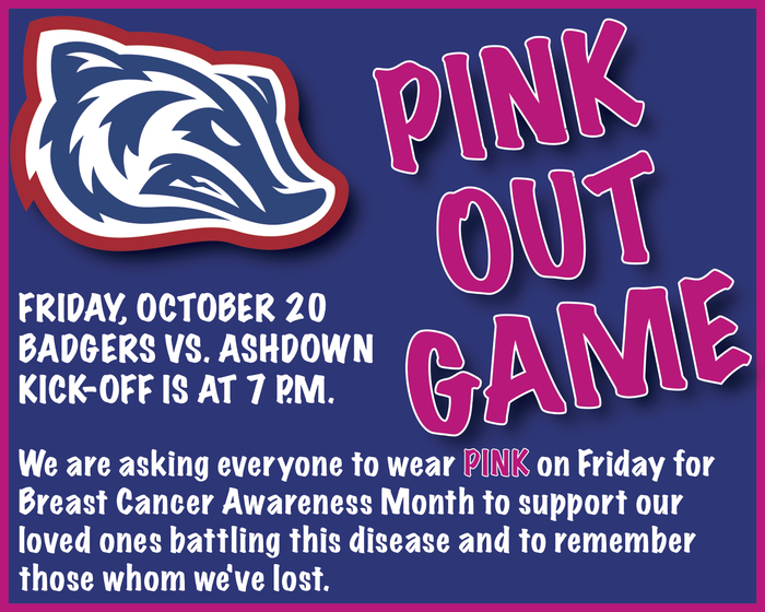 Pink Out Game on Friday at 7 p.m. flyer