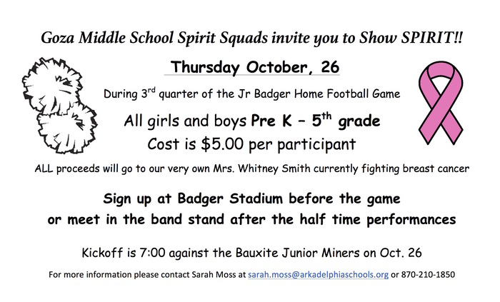 Goza Spirit Squad fundraiser flyer - cheer on the field