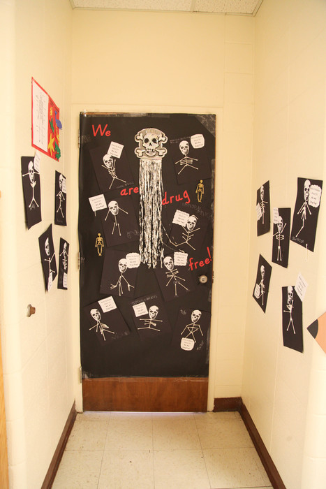 Perritt Primary School Red Ribbon Week door decorations