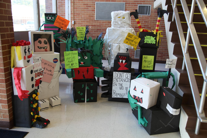 GT students decorate red ribbon week monsters
