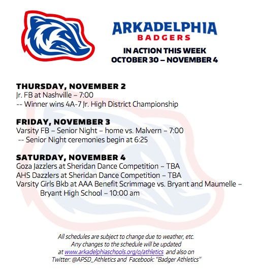 This Week in APSD Athletics: Oct. 30 - Nov. 4