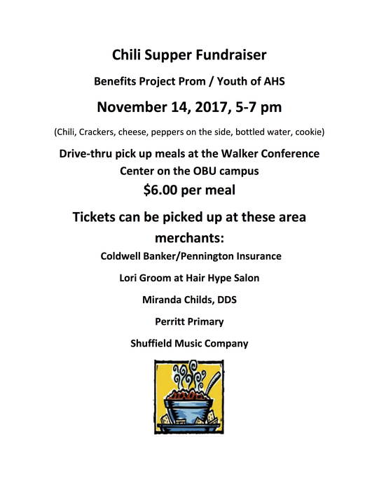 Project Prom Chili Supper flyer