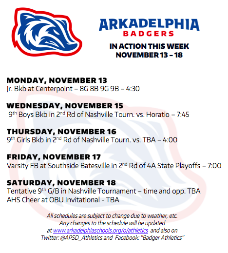This Week in APSD Athletics: Nov. 13-18