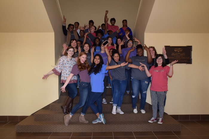 students pose for group picture at HSU STEM conference