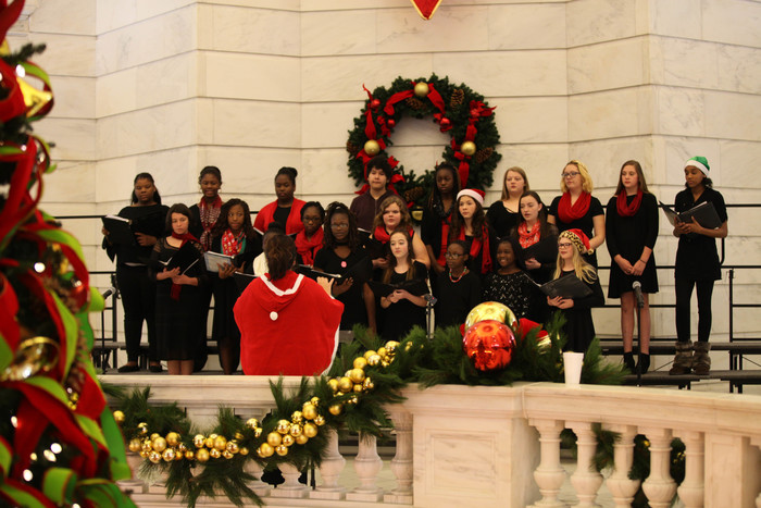 Goza choir performing at the state capitol