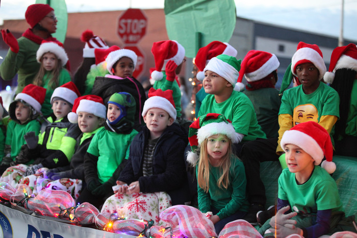 students participating in Christmas parade