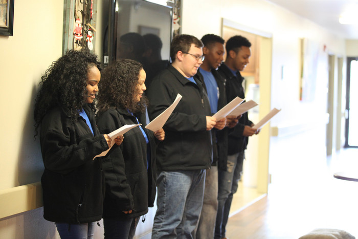 JROTC singing carols at rehab center