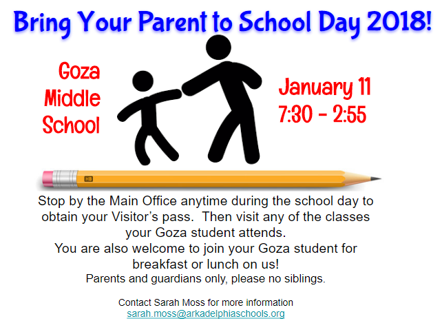 Bring your parent to school day information flyer