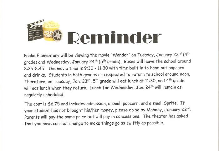Peake field trip information flyer - Jan. 23/24