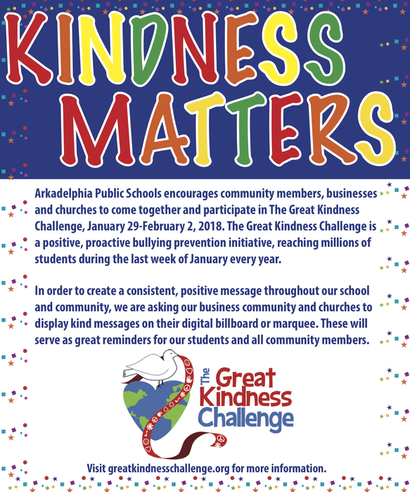 Great Kindness Week Challenge flyer - encouraging Arkadelphia community to be kind