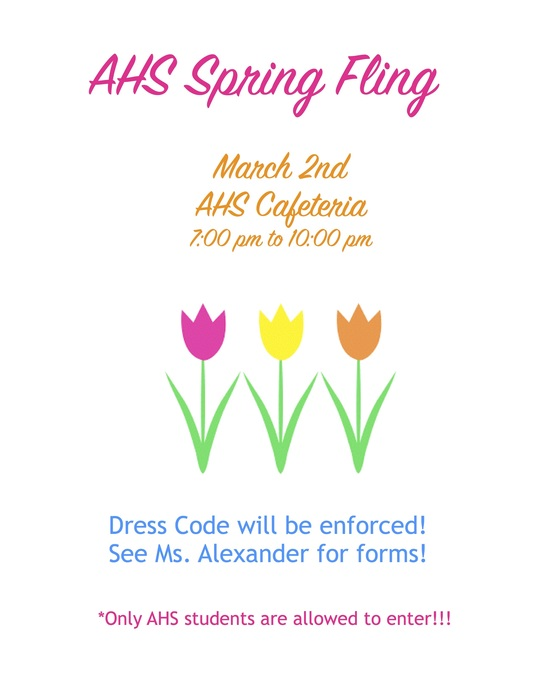 AHS Spring Fling flyer - March 2 at AHS