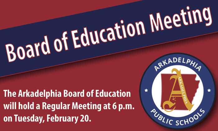 board of education meeting graphic - feb. 20 at 6 p.m.