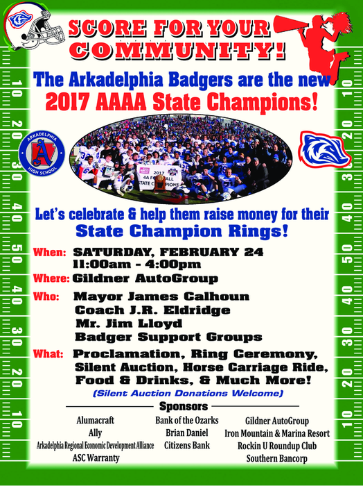Arkadelphia Badgers community event - raise money for championship rings - feb. 24