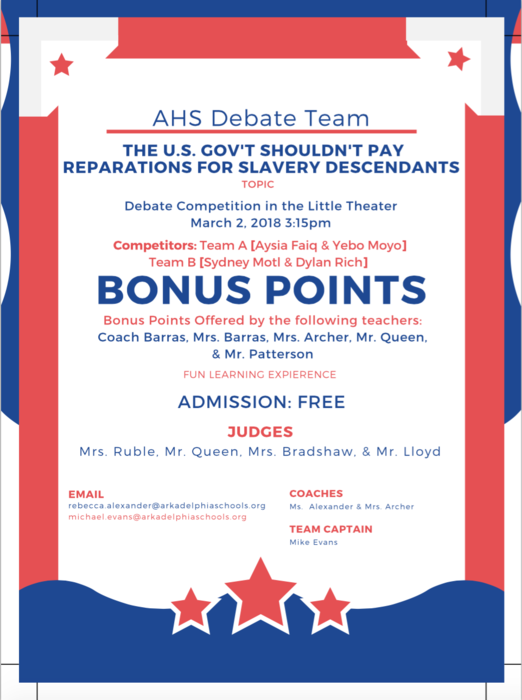 AHS Debate team flyer - march 2 at 3:15 p.m.