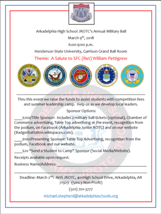 AHS Junior ROTC Military Ball Sponsorship Options flyer