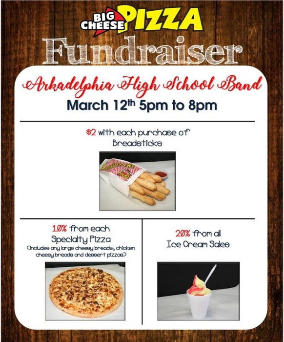 AHS Band fundraiser flier - Big Cheese Pizza on March 12