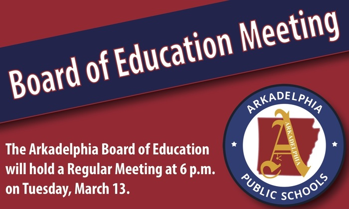 board of education meeting graphic - march 13 at 6 p.m.