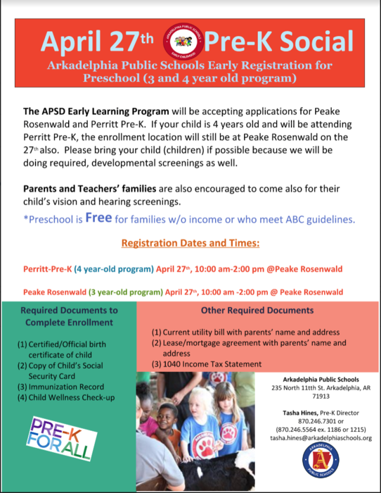 Pre-K registration flier - April 27th for the 3 and 4 year-old programs. Registration will start at 10:00 am.