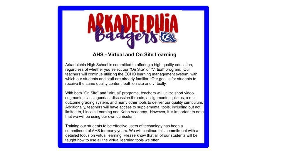 AHS Virtual and On Site Learning Plan