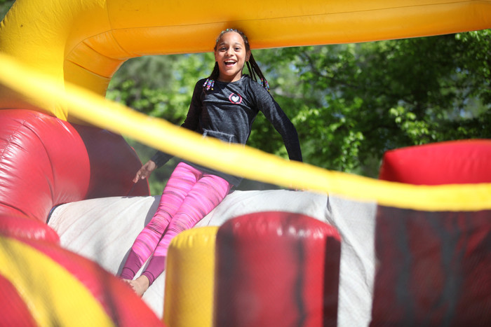 girl on bouncy house