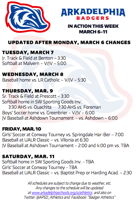 UPDATED This Week in APSD Athletics: March 7-11