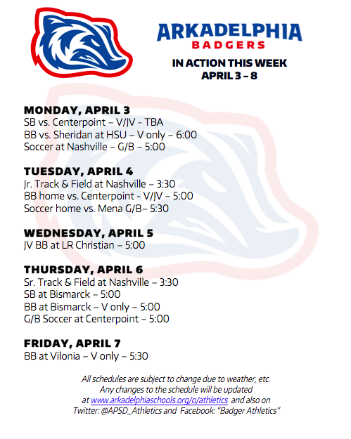 This Week in APSD Athletics: April 3-8