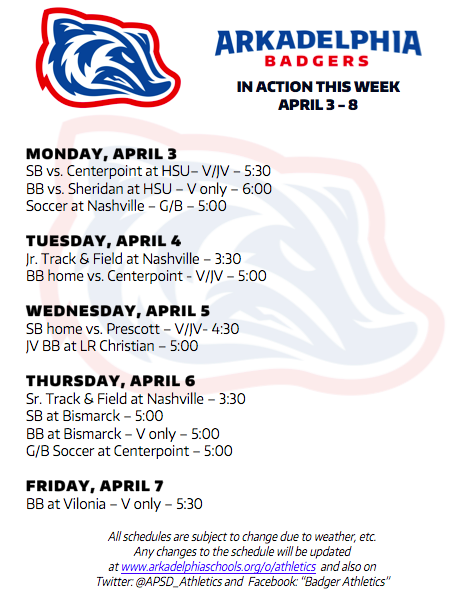 "UPDATED (and corrected) ""This Week in APSD Athletics"" as of Monday, April 3"