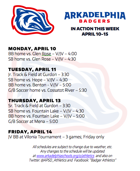 This Week in APSD Athletics: April 10-14