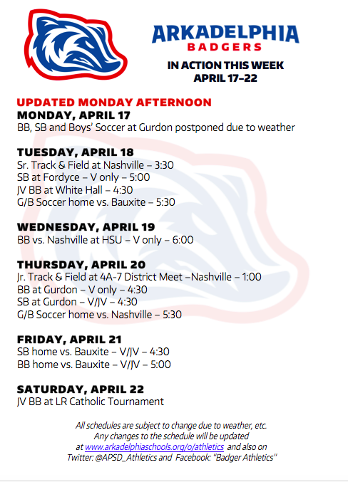 This Week in APSD Athletics: April 17-22