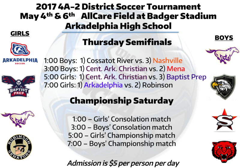 Arkadelphia High School hosts the 4A-2 District Soccer Tournament